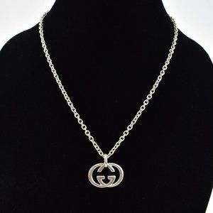 """GUCCI: Sterling Silver, """"GG"""" Logo Necklace (nw)"""